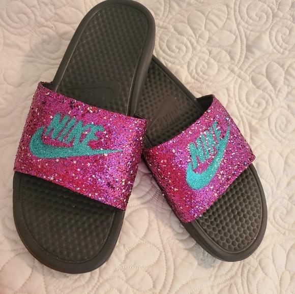 Womens Custom Glittered Nike Slides Sz
